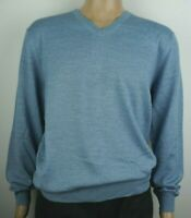 Men`s New CHRISTIAN BERG Wool Blend V-Neck Jumper Size 2XL Sweater Light Blue