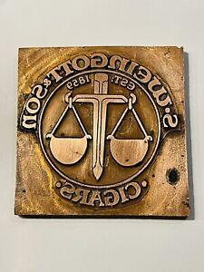 Vintage Samuel Weingott & Son Cigars Box Tobacconist Metal Printing Plate 1859