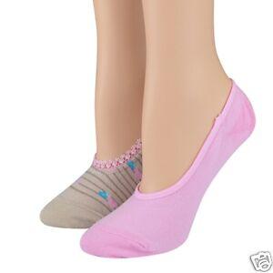 K.Bell 2-Pair Pack Pink Beige Lace Edges Foot Liners Ladies Sock Footie New