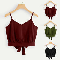 Women's Casual Summer Bow Tie Back V Neck  Solid Crop Cami Top Camisole Shirts U