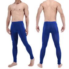 Men Sexy Sheer Mesh Stretch Long John Pants Ice Silk Leggings See-thru Underwear