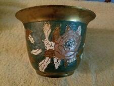 Vintage Flower Pattern Decorative Brass Flower Pot Heavy