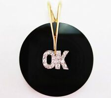 "CUSTOM MADE BOLD ""OK"" PENDANT DIAMOND BLACK ONYX 14K YELLOW GOLD VINTAGE ""OKAY"""