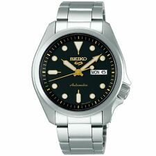 Seiko 5 Sports Automático Dial Negro Plata Acero Hombre Reloj SRPE 57K1 PVP £ 230