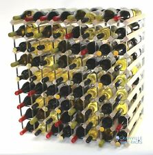 Double depth 144 bottle pine wood and metal wine rack ready to use
