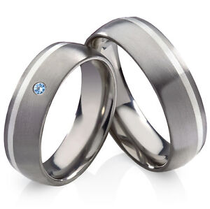 Trauringe Eheringe Titanringe 925 Silber mit echtem Topas und Ringe Gravur HT13