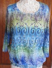 NWT Chico's Sz 2 Blue Multi Scribble Atlantis Smocked Suzanna 3/4 Top, Crystals