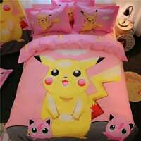 100% Cotton Pink Pokemon Pikachu Double/Queen Bed Quilt Cover Set