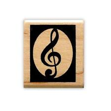 Boxed TREBLE CLEF Mounted rubber stamp, music, g clef #10