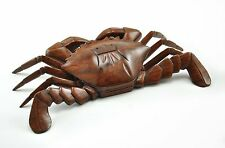 "9"" Vintage old Chinese ROSEWOOD Crab Treasure BOX Hand carved Natural Solid Wood"
