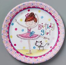 Ballerina Ballet Dancer Girl Rachel Ellen Party Supplies Party Plates 8pk 23cm