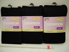 3 Curvation Textured Tights Tummy Smoother Microfiber,CURVACEOUS 1,LOT OF 3 PAIR