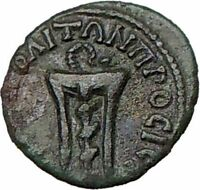 SEPTIMIUS SEVERUS  193AD  Ancient Genuine Roman Coin SERPENT TRIPOD  i22295
