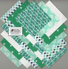 """40~4"""" Green Geometric Fabric Squares/Quilt/Craft/Sewing/Charm Packs #0892"""