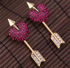 Jewelry Women Betsey Johnson Gold Hot Cupid Arrow Rhinestone Heart Stud Earrings