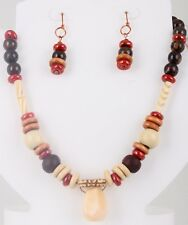 FASHION COPPER BRONZITE WOOD HORN CERAMIC AMBRONITE NECKLACE/EARRINGS SET 5645B