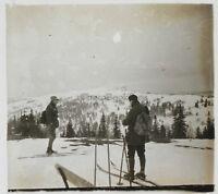 Paesaggio Con La Neige Sci Foto Placca Stereo Vintage LA1