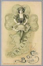 Schmucker St Patricks Day Girl Irish Ireland Map Postcard