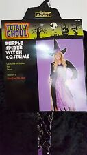 New Womens Totally Ghoul Purple Spider Witch Halloween Costume One Size Fit Most