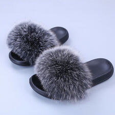 2017 New Flat Women Real Fox Raccoon Fur Sliders Slippers Indoor Outdoor Shoes