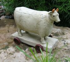 COW Animal PULL TOY Sculpture*Primitive/French Country Farmhouse Dairy Decor
