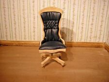 1/12th Dollshouse Miniature Swivel Desk Chair with Leather seat