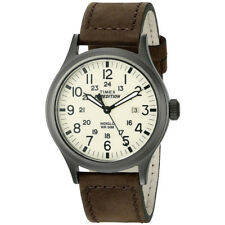 Timex Mens Expedition Scout Watch, Quartz, 40mm Black Case, Brown Leather Strap