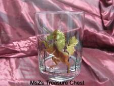 Vintage Otagiri Gold Unicorn Glassware 8oz Tumbler with Background Black Trees