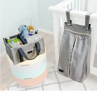 Diaper Stacker Plus Caddy 2-Piece Set Grey Gender Neutral, Nursery Organizer Set
