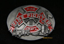 FIRE FIGHTER BELT BUCKLE FIREMAN MADE IN USA AXE TRUCK PIN UP GIFT ENGINE WOW