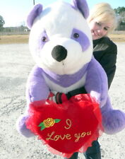 American Made Giant Stuffed Purple Panda Bear 32 inch, Holds I LOVE YOU Heart