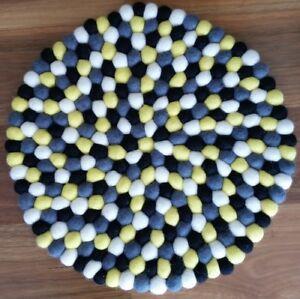 40cm Nepalese Handmade Felt Ball Round Rug Mat Carpet Yellow White Black Wool