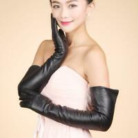 Women 60cm 23'' Genuine Leather Touch Screen Long Opera Elbow Gloves Silk Lining
