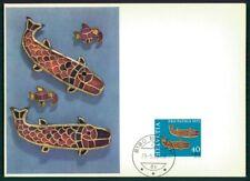 SCHWEIZ MK 1973 PP KUNST ART FISCH-FIBELN MAXIMUMKARTE MAXIMUM CARD MC CM ei16