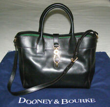 "DOONEY & BOURKE LRG BLACK SMOOTH ""FLORENTINE VACCHETTA""LEATHER TOTE/SHOULDER BAG"