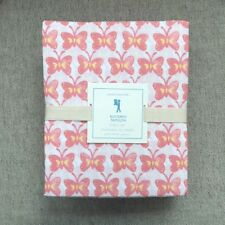 Pottery Barn Kids Butterfly Papillon Full sheet set white, Coral, Pink,  yellow