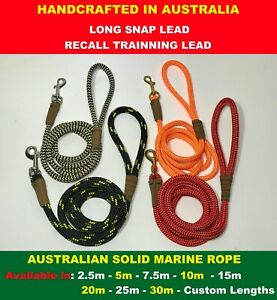 RECALL Long Training Dog CLIP Lead Soft  Solid Rope Heavy Duty OZ Handcrafted