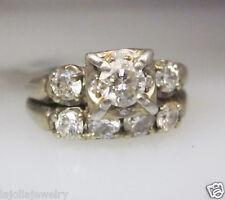 14K WHITE GOLD DIAMOND WEDDING SET LADIES RING SIZE 6