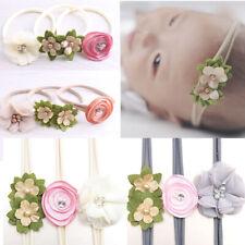 3Pcs Newborn Baby Girls Handmade Flower Headband Infant Toddler Knot Hair Band