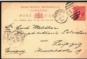 GIBRALTAR QV Stationery Card Used MOROCCO TANGIER *A26* Duplex Leipzig 1894 SE12