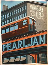 Pearl Jam poster Wrigley Field chicago steve thomas L train 2018 tour pj concert