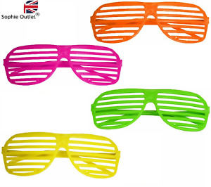 80'S NEON SHUTTER RETRO SHADES Clubbing Night Out Party Glasses Sunglasses UK