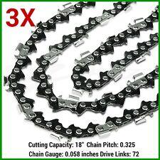 """3XChainsaw Chain 18"""" x 72DL, 0.325 Pitch, .058 Gauge FOR RYOBI RFS4518 CHAINSAW"""