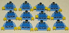 LEGO LOT OF 12 BLUE FARMER KID MINIFIGURE TORSOS WITH OVERALLS PIECES