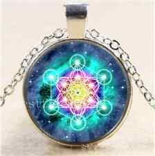 Psychedelic Sacred Geometry Cabochon Glass Tibet Silver Chain Necklace