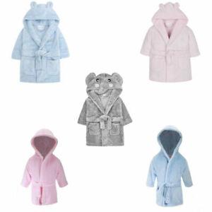 Baby Boys Girls Dressing Gown Hooded Bath Robe Pink Blue Grey Shower 0-24 Months