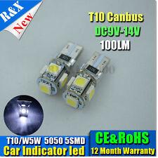 2xCANBUST10 LED 5SMD POUR WHITE for Car Side light interior park light 12V wedge