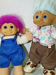 Doll 2 Trolls Soft Body Friends Playtime Outfits Shoes Tea Parties Sisters Vntg