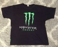 Vintage Monster Energy Drink Black T Shirt Green Logo Anvil Size XL Two Sided