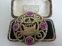 VINTAGE SIGNED CELTIC VIKING SHIP PURPLE CABOCHON BROOCH KILT PIN